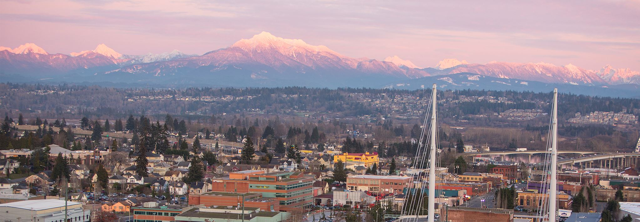 Sunset over downtown Everett and the Cascades