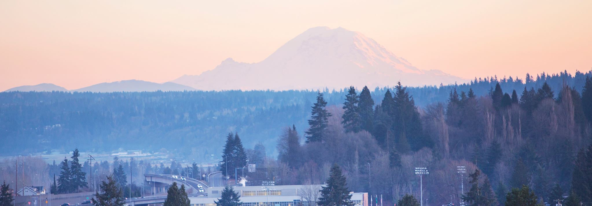 Mount Rainier infront of I-5 and the City of Everett
