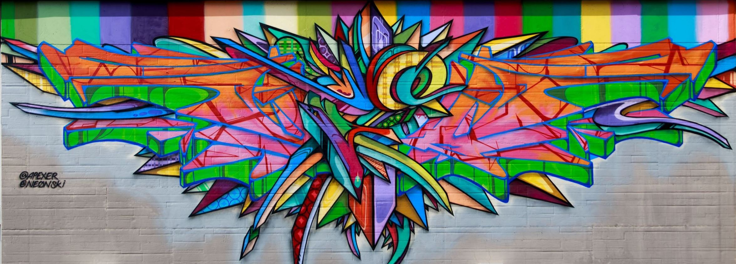 mural by APEX and NEON at Schack Art Center